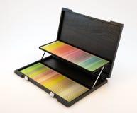 Caja con los lápices Fotografía de archivo libre de regalías