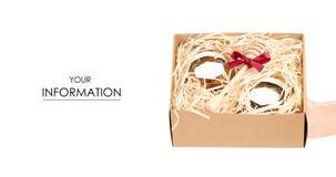 Caja con los tarros del regalo determinado de la miel presente en modelo de las manos Imagen de archivo libre de regalías
