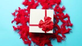 Caja con un regalo, atado con una cinta colocada en plumas rojas