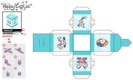 Caja cuadrada para la turquesa del modelo de pascua brillante stock de ilustración