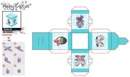 Caja cuadrada para la turquesa del modelo de pascua con las imágenes libre illustration