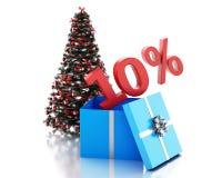 caja 3d con el 10 por ciento de texto y árbol de navidad Foto de archivo libre de regalías