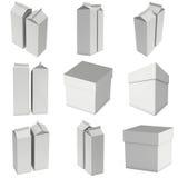 Caja 3d de la leche o del jugo Imagen de archivo