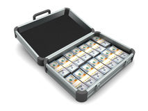 Caja de aluminio por completo de dinero Imagenes de archivo