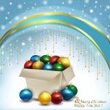 Caja de bolas de la Navidad Imagenes de archivo