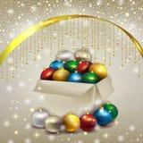 Caja de bolas de la Navidad Fotografía de archivo