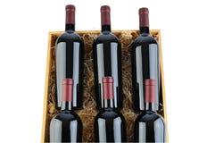 Caja de botellas de vino de Cabernet foto de archivo libre de regalías