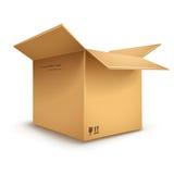 Caja de cartón abierta Imagen de archivo