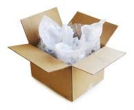 Caja de cartón abierta Imagenes de archivo