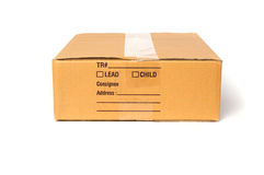 Caja de cartón aislada en el fondo blanco Fotografía de archivo