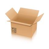 Caja de cartón aislada en el fondo blanco Imágenes de archivo libres de regalías