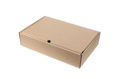 Caja de cartón aislada en el fondo blanco Imagen de archivo