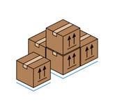 Caja de cartón aislada en el fondo blanco Imagenes de archivo