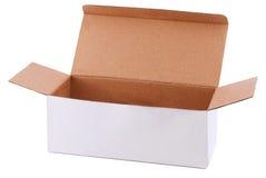 Caja de cartón blanca Foto de archivo libre de regalías