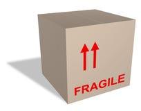 Caja de cartón con el contenido frágil Foto de archivo