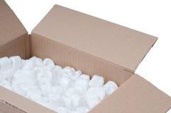 Caja de cartón con el poliestireno imagen de archivo libre de regalías