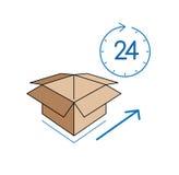 Caja de cartón con el reloj en el fondo blanco Fotos de archivo