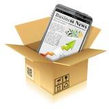 Caja de cartón con el teléfono elegante Imágenes de archivo libres de regalías