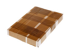 Caja de cartón con la cinta, conjunto seguro Imagenes de archivo