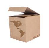 Caja de cartón con la correspondencia ecológica los E.E.U.U. del icono Fotos de archivo
