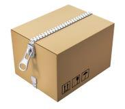 Caja de cartón con la cremallera stock de ilustración