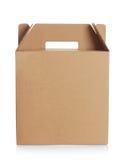 Caja de cartón con la manija fotografía de archivo libre de regalías