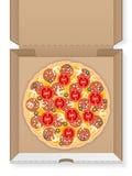 Caja de cartón con la pizza Fotos de archivo libres de regalías
