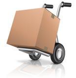 Caja de cartón del carro de mano Imagen de archivo libre de regalías