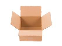 Caja de cartón en blanco Imágenes de archivo libres de regalías