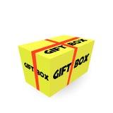 Caja de cartón realista amarilla del paquete con la cinta Vector stock de ilustración