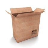Caja de cartón vacía abierta Fotos de archivo
