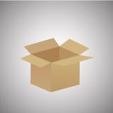 Caja de cartón vacía abierta aislada en gris stock de ilustración