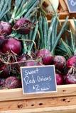 Caja de cebollas rojas Fotos de archivo