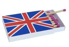 Caja de cerillas con la imagen de la bandera británica fotos de archivo libres de regalías