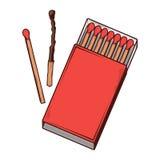 Caja de cerillas roja de la visión superior aislada en un fondo blanco Línea arte de color Diseño retro Fotografía de archivo libre de regalías