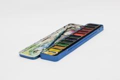 Caja de color de agua Imágenes de archivo libres de regalías