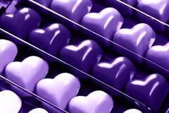 Caja de corazones del chocolate Fotografía de archivo