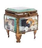 Caja de cristal con los accesorios para coser Fotos de archivo