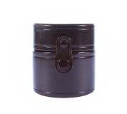 Caja de cuero marrón del cilindro Imagen de archivo libre de regalías