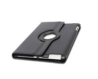 Caja de cuero negra de la tableta en un blanco Fotografía de archivo