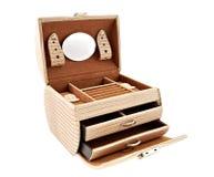 Caja de cuero para el cosmético o la joyería Imágenes de archivo libres de regalías