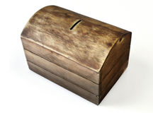 Caja de dinero del cofre del tesoro con una ranura de moneda Imagenes de archivo