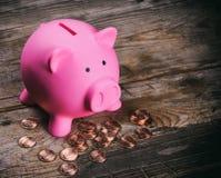 Caja de dinero rosada del cerdo con las monedas Fotos de archivo libres de regalías