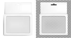 Caja de empaquetado realista del Libro Blanco con el agujero de la ejecución Aislado en el fondo blanco ilustración del vector