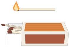 Caja de fósforos y palillo encendido ilustración del vector