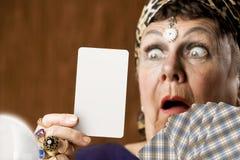 Caja de fortuna con la tarjeta de Tarot en blanco Imágenes de archivo libres de regalías