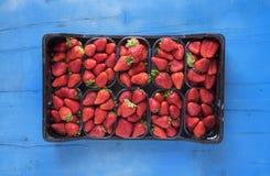 Caja de fresas perfectas maduras frescas en fondo de madera rústico azul Foto de archivo
