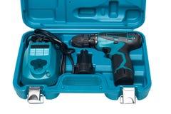 Caja de herramientas azul con el destornillador aislado en blanco Imágenes de archivo libres de regalías