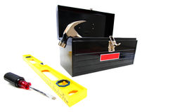 Caja de herramientas con las herramientas Imagen de archivo libre de regalías