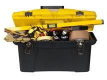 Caja de herramientas con las herramientas Fotos de archivo libres de regalías